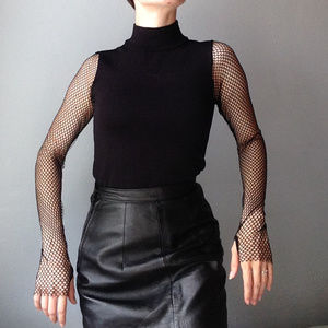Zara fishnet mesh sleeve turtleneck sweater top XS